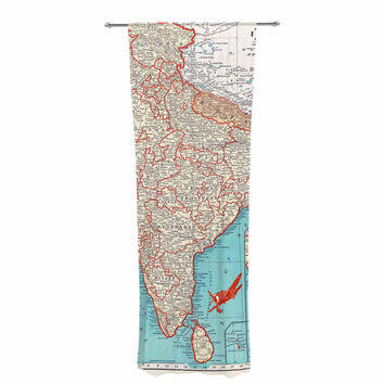 "Catherine Holcombe ""Travel To India"" Teal Red Decorative Sheer Curtain"