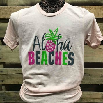 Southern Chics Aloha Beaches Pineapple Canvas Girlie Bright T Shirt