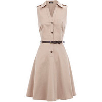 Stone Belted Shirt Dress - Oasis - Polyvore