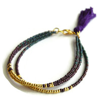 Gold, Blue and Purple Tribal Tassel Bracelet, Tassel Friendship Bracelet, Tribal Bracelet, Stacking Bracelet