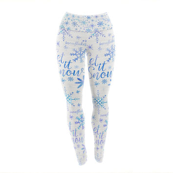 "Noonday Design ""Let It Snow Winter Pattern"" Blue Purple Yoga Leggings"