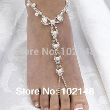 sexy rhinestone barefoot sandals, foot bracelet,beach foot jewelry with pearl, cross beads anklets for women  summer
