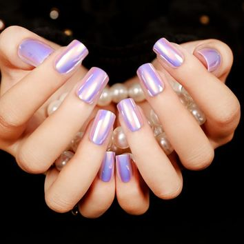 faux ongles presse Fashion High Light Nails Tips Multiple Color Reflective Mirror Full False Nails 6 Colors Choose