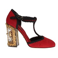 Dolce & Gabbana Red Brocade Sicily Shoes