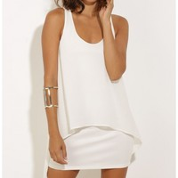 Party dresses > High Low Overlay Dress in White