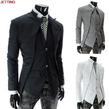 JETTING-HOT 2017 New Fashion Men's Casual Slim Fit Suits Blazer Male Business Casual Suit White Grey Black Colors M-3XL