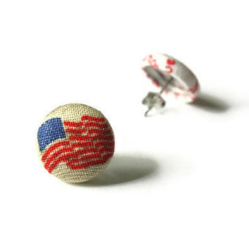 American Flag Patriotic Earrings Fabric Covered Buttons Perfect 4th of July Accessories
