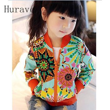 Hurave 2018 Baby girls Summer Autumn coat girls jackets & coats Children Sunflower embroidery Kids outerwear Toddlers Clothing