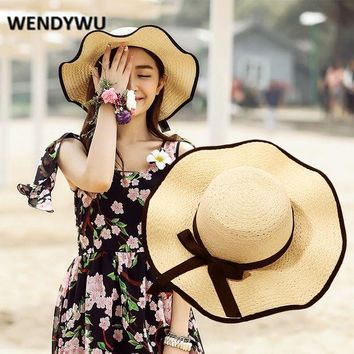 DCCK8NT WENDYWU Big brimmed lady hat Summer sun hat with lotus leaves Elegant straw hat