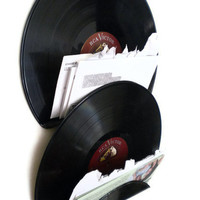 Record Letter Holder, Mail Organizer, Upcycled Wall Organization System