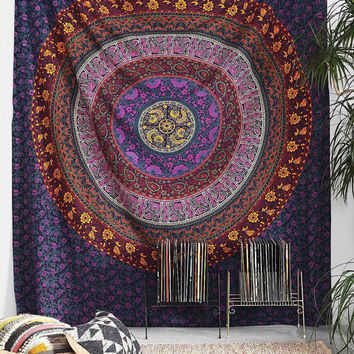 Big Indian Mandala Hippie Tapestry Wall Hanging Cotton Bedspread Purple Psychedelic Tapestries fabric