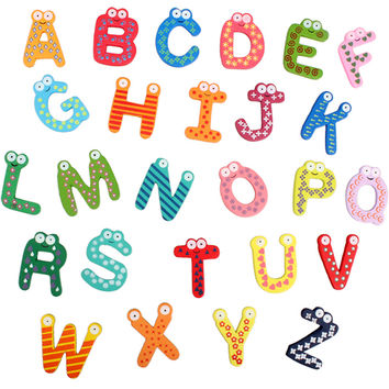 1Set Cute Cartoon Wooden Fridge Magnets 26 Letters wallpaper for Teaching Alphabets Fridge Magnetic Wall Letters Stickers
