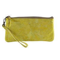 Vaquetta Tooled Leather Wristlet - Canary Yellow