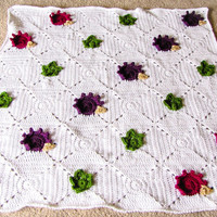 Textured Hedgehog & Leaf Crocheted Baby Blanket // Baby Quilt // Stroller Blanket // Ready to Ship
