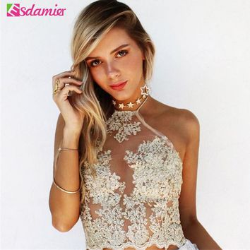 Womens Floral Embroidery Lace Metallic Backless Crop Top (a)