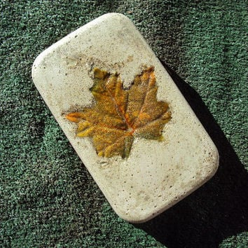 Maple Leaf Door Stop, Statue, Sculpture, Statuary, Concrete ooak Hand Made