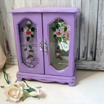 Purple Jewelry Box with Glass Doors, Lavender Vintage Jewelry Holder with Floral Glass Etching, Shabby Chic, Cottage Chic, Gift Ideas