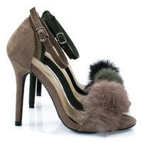 Rubina53 By Forever, Fluffy Feather Furry Strap High Heel Open Toe Sandal