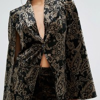 Missguided Exclusive Velvet Cape Blazer In Paisley Jacquard at asos.com