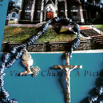 First Communion Cord-Knot Rosary with Crucifix