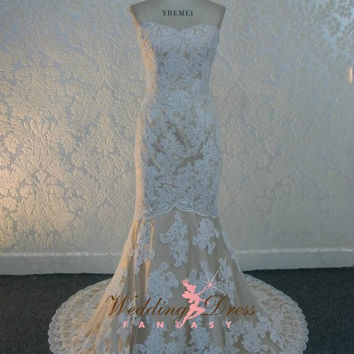 Beautiful Lace Wedding Dress with French Lace Sweetheart Neckline