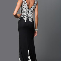 Long Black Prom Dress with White Lace by Elizabeth K