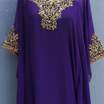 Fancy Detailed Sequin Purple Dress, Gold Embroidery Puple Caftan Oversize Dress, Wedding Bridesmaid Party Summer Kaftan Maxi Dress