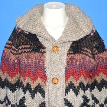 80s Tribal Shawl Neck Women's Cardigan Sweater Small