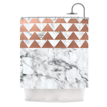 "KESS Original ""Marble & Metal"" White Copper Shower Curtain"