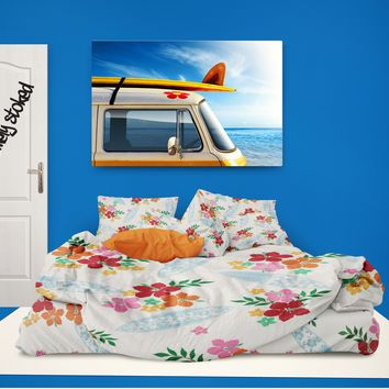 Surfboards and Hibiscus Hawaiian Surfer Girls Sheet Set