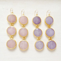 PASTEL COLORS fashion LARGE long bold  triple earrings lilac or rose pink jade stone  gold statment earrings israel