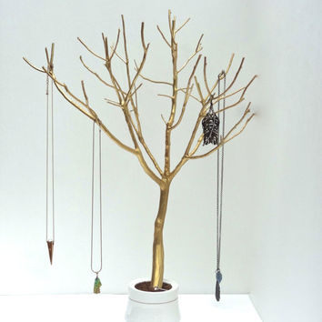 Jewelry Tree Gold Organizer painted necklace holder branch bedroom decor for her