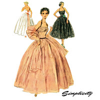 1950s Evening Dress Pattern Simplicity 4584 Junior Misses Full Skirt Ball Gown Bust 29 Womens Vintage Sewing Pattern UNCUT