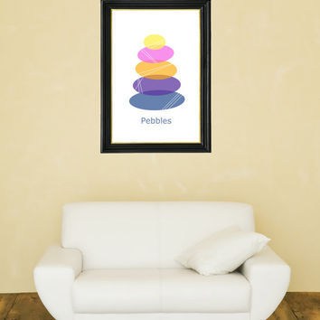 Beach Pebbles in a Pile - Beach Art - Modern Beach - Beach Stones - Pastel Colors