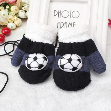 Miya Mona 1 Pair Boys Winter Warm Gloves Toddles Double Layer Thick Knitting Football Patterns Gloves Soft Full Fingers Mittens