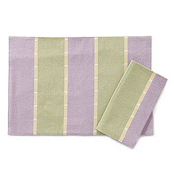 Aman Imports Easter Striped Table Linens - Yellow 13x19 in. Placemat