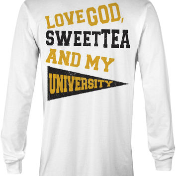 Love God, Sweet Tea and My University (Black/Yellow Gold)