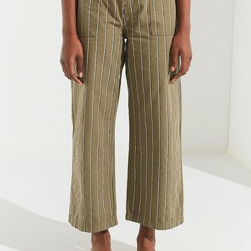UO Striped Twill Wide-Leg Trouser   Urban Outfitters
