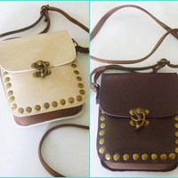Cream bag Brown shoulder bag Small square shoulder bag fake leather bag wide 12.5 cm. Cross body bag Handbags/ purse/ wallet