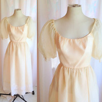 SALE- Vintage Peach Light Pink Dress. Tea Length. Sheer. Pastel. Romantic. Formal. Day Dress. Wedding. Prom. Bridesmaid. Lace. 1960s.