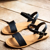 Coastline One Band Sandal, Black
