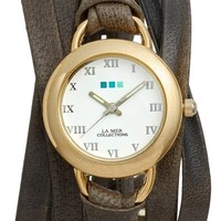 La Mer Collections Slate Saturn Leather Strap Wrap Watch, 25mm | Nordstrom