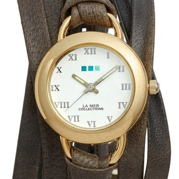 La Mer Collections Slate Saturn Leather Strap Wrap Watch, 25mm   Nordstrom