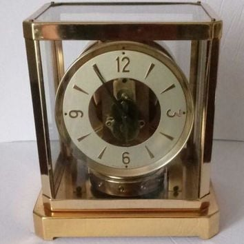 Vintage Master Crafters Mid Century Modern Brass & Glass Electric Clock.