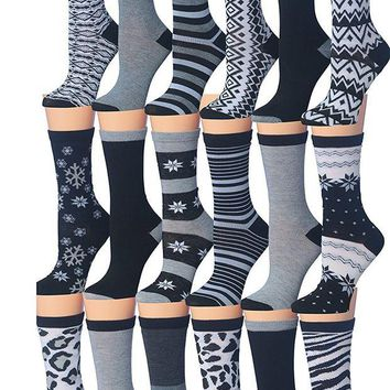 DCCK3SY Tipi Toe Women's 18-Pairs Value Pack Colorful Super Classy Fashion Crew Socks