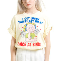 Vintage 90's I GOT LUCKY TWICE LAST NIGHT... Tee - One Size Fits Many