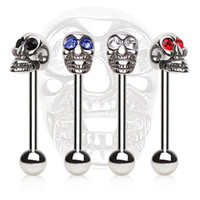 316L Surgical Steel Barbell with a Skull Top
