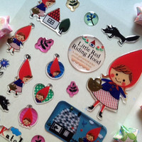 cute style fairy tale sticker Little red riding hood sticker red hat cartoon girl seal label classic story icon kawaii sticker kids party