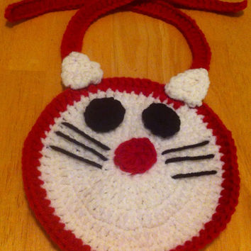 Handmade Hello Kitty Baby Crocheted Bib