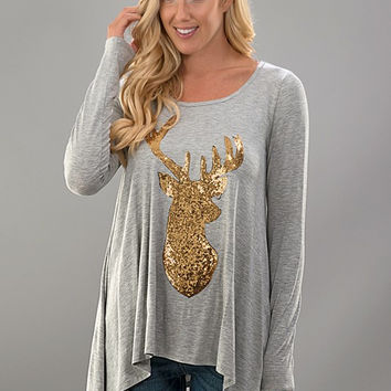 Sequined Reindeer Tunic Top - Gray